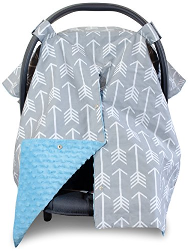 Premium Carseat Canopy Cover and Nursing Cover- Large Arrow Pattern w/ Blue Minky | Best Infant Car Seat Canopy, Boy or Girl | Cool/ Warm Weather Car Seat Cover | Baby Shower Gift 4 Breastfeeding Moms (Baby Blue Car Seat Covers compare prices)