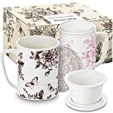 The Tea Couple Tea Infuser Mug (Set of 2) 14 oz.Vintage Porcelain Tea Cups w/Ultra-Fine Mesh for Steeping | 2,Non-Slip Drink Coasters | Reusable Home & Office Drinkware (Vintage Butterfly)