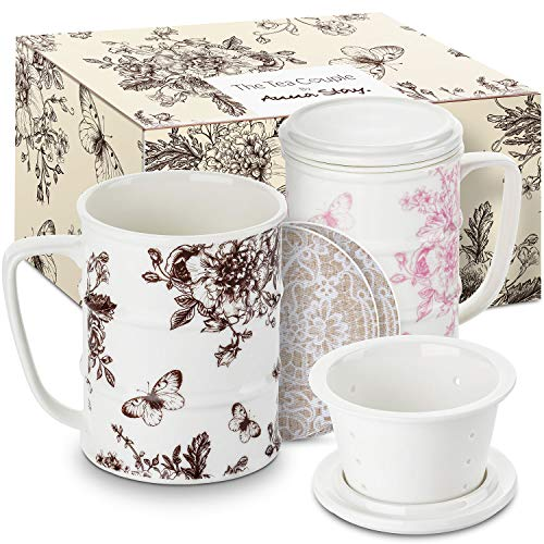 (The Tea Couple Tea Infuser Mug (Set of 2) 14 oz.Vintage Porcelain Tea Cups w/Ultra-Fine Mesh for Steeping | 2,Non-Slip Drink Coasters | Reusable Home & Office Drinkware (Vintage Butterfly))