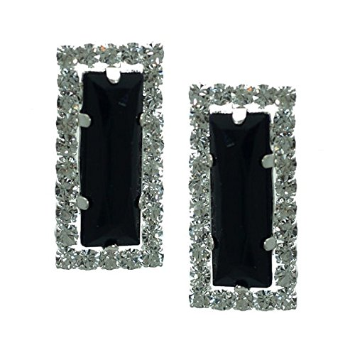Nydia Silver tone Jet Crystal Clip On Earrings