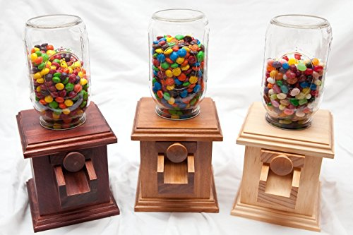 (Hand-made Wooden Candy Dispenser - M&M Peanut Skittles Snack - Wood Candy Dispenser - DavesWoodDesigns)