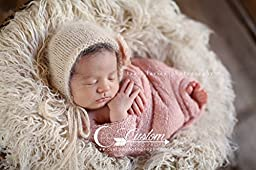 Hypoallergenic & Washable Eggshell Long Sheep Faux Flokati Fur Newborn Photo Props, Artificial Fur, Newborn Baby Photography Props, Basket Stuffer Blanket, Off White