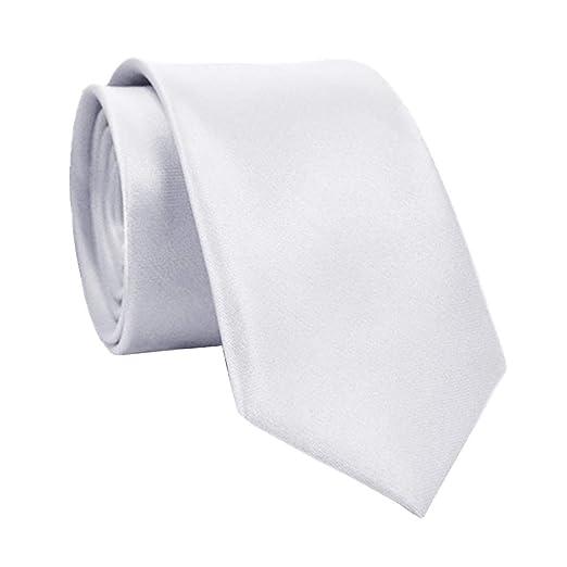 Corbata de cuello de seda de poliéster de 5 cm para hombre blanco ...