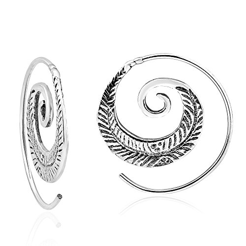 - Feather Nature Branch .925 Sterling Silver Spiral Slide Hoop Earrings