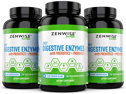 Zenwise Health Plus Prebiotics & Probiotics - Natural Support for Better Digestion & Lactose Absorption - for Bloating & Constipation + Gas Relief - 180 Vegetarian Capsules