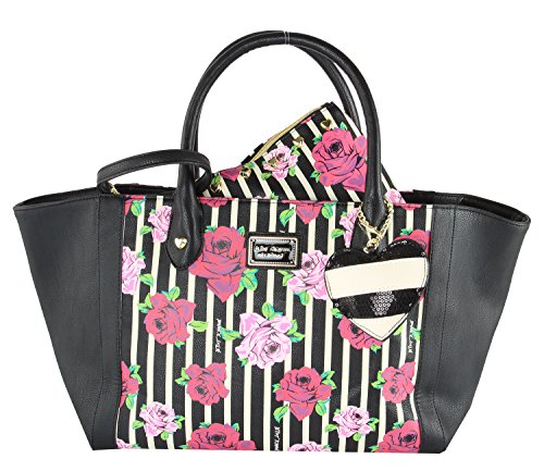 Betsey Johnson Be MIne Tote With Wristlet Pouch (2 Piece set) - Floral