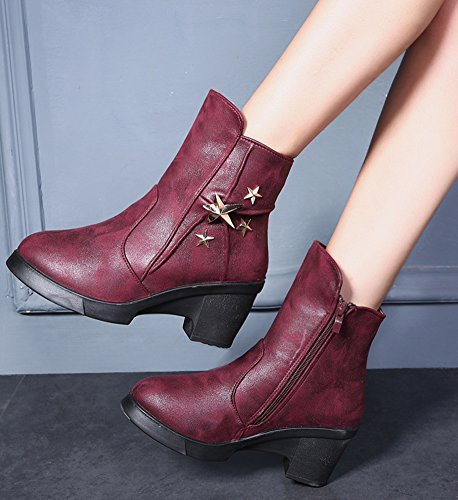 Heels Elegant Womens High IDIFU Ankle Short Booties Zipper Chunky Boots Platform Red High With 4Xxqw