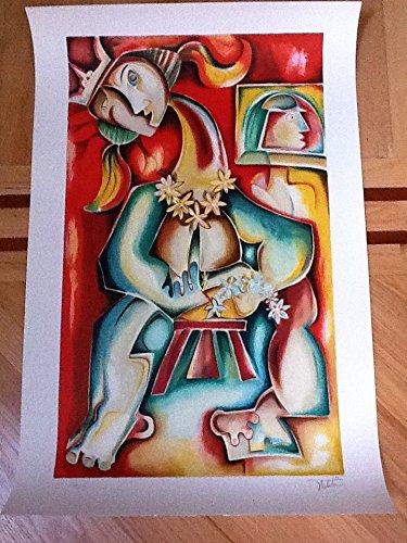 Woman Lithograph - Alexandra Nechita Lady Lei Original Hand Signed Lithograph COA
