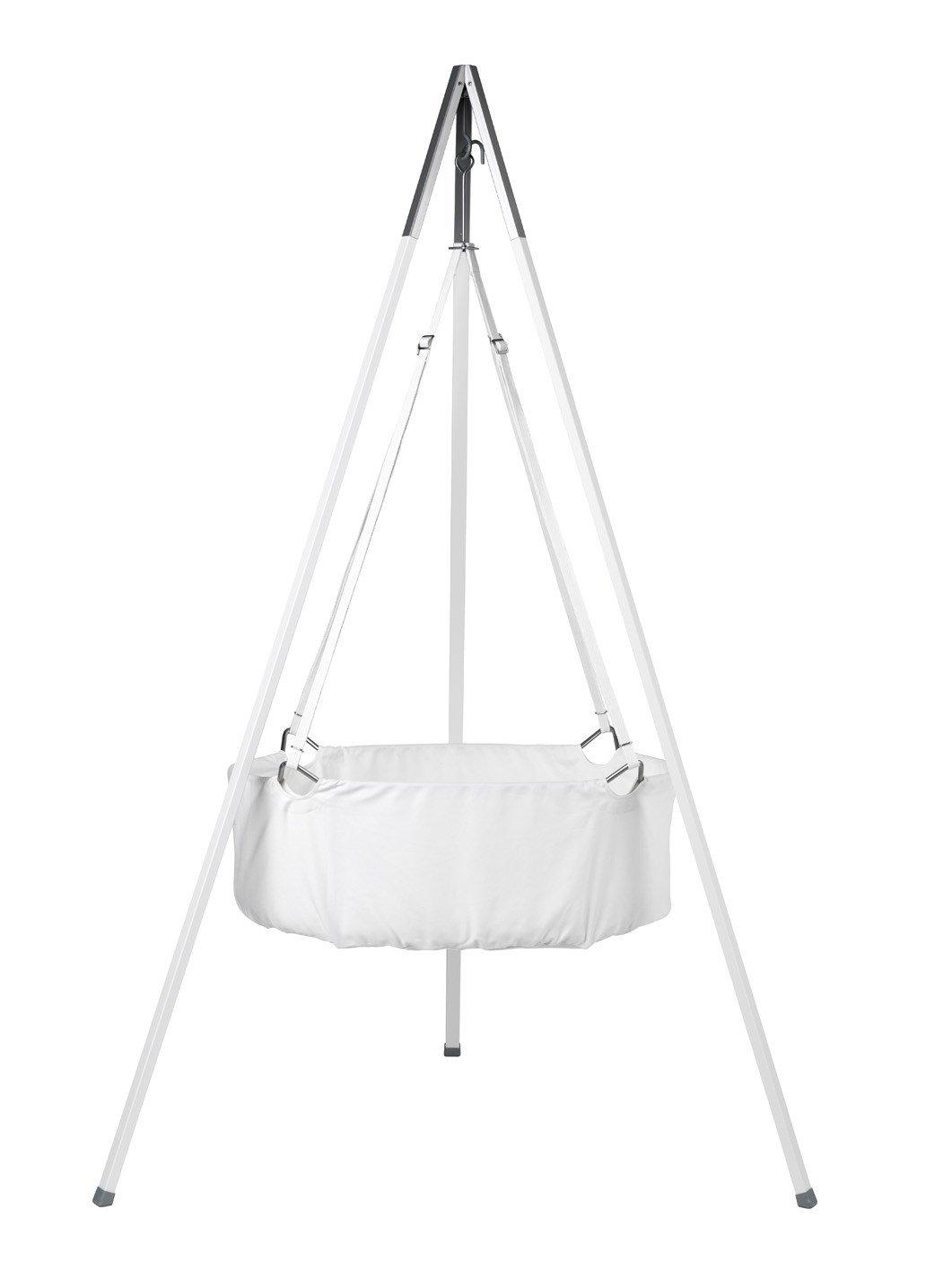 Leander Wiege - Babywiege weiß inkl. Matratze und Deckenhaken - mit Stativ - weiß