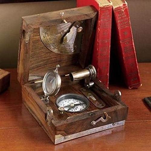 Vintage Decor Marine Master Box Direction Compass Telescope Magnifier SC 036
