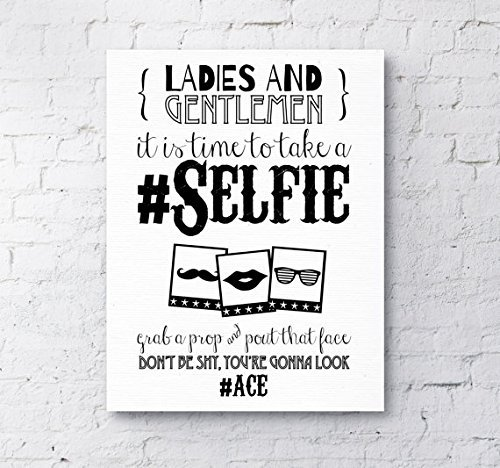 Photo Booth Selfie Sign / Poster Backdrop for Wedding and Party Props S1 A3+ Canvas by Purple Scrunch