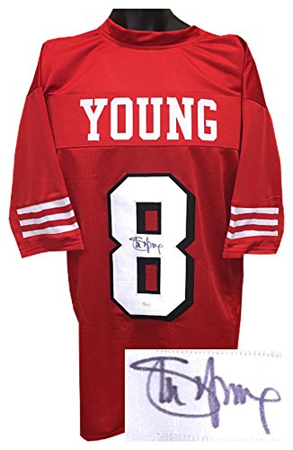 (Steve Young Signed Autograph Red TB Custom Stitched Pro Style Football Jersey Shadow #'s- JSA Authentic)