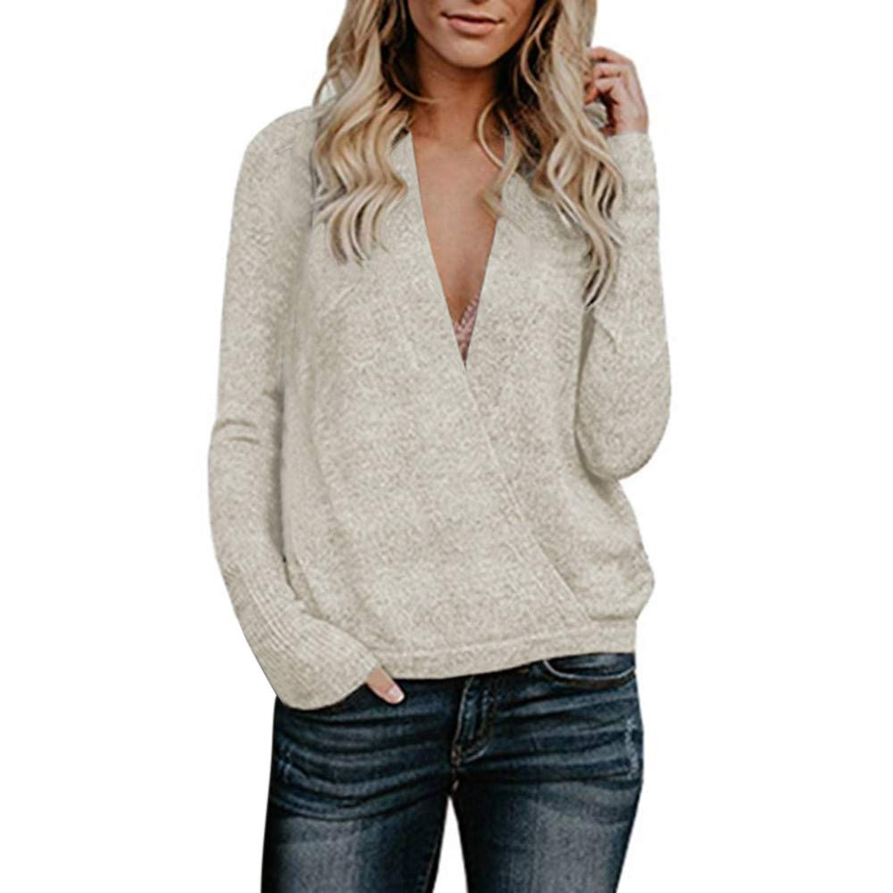 Women Sweater Loose Vanvler Ladies Deep V-Neck Shirt Long Sleeve Pullover Vanvler -Women Sweaters
