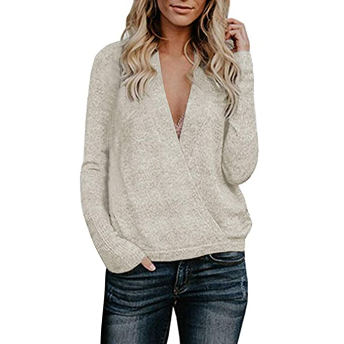 11bbe79868cb Btruely Pullover Damen V-Ausschnitt Winter Herbst Loose Fit Sweatshirt  Gestrickte Langarmshirt Plüsch Jumper Langarm Hausbekleidung  Amazon.de   Bekleidung