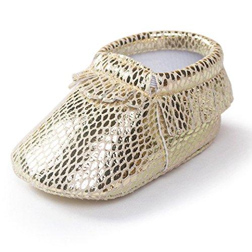 HAPPY CHERRY Suaves Zapatos Primeros Pasos Zapatitos sin Cordones Suela Antideslizante Mocasines para Bebés Niños Niñas 12-18 Meses Color Vino Tinto Oro 2