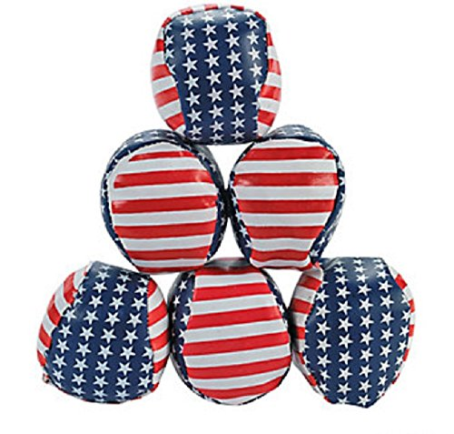 Patriotic Stars & Stripes Hacky Sacks (Set of 12) 4th of July Party Favors ()