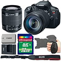 Canon EOS Rebel T5i Camera Bundle with Canon EF-S 18-55mm f/3.5-5.6 IS STM Lens + 32gb Memory SD Card + Grip Strap - International Version (No Warranty)