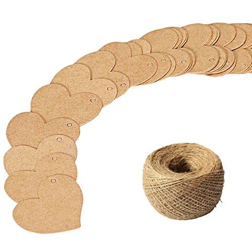 (CHUANGLI 100pcs Kraft Paper Gift Tags Heart Shaped Swing Ticket for Wedding Party Favors Christmas with Decorative Hemp Rope Khaki)