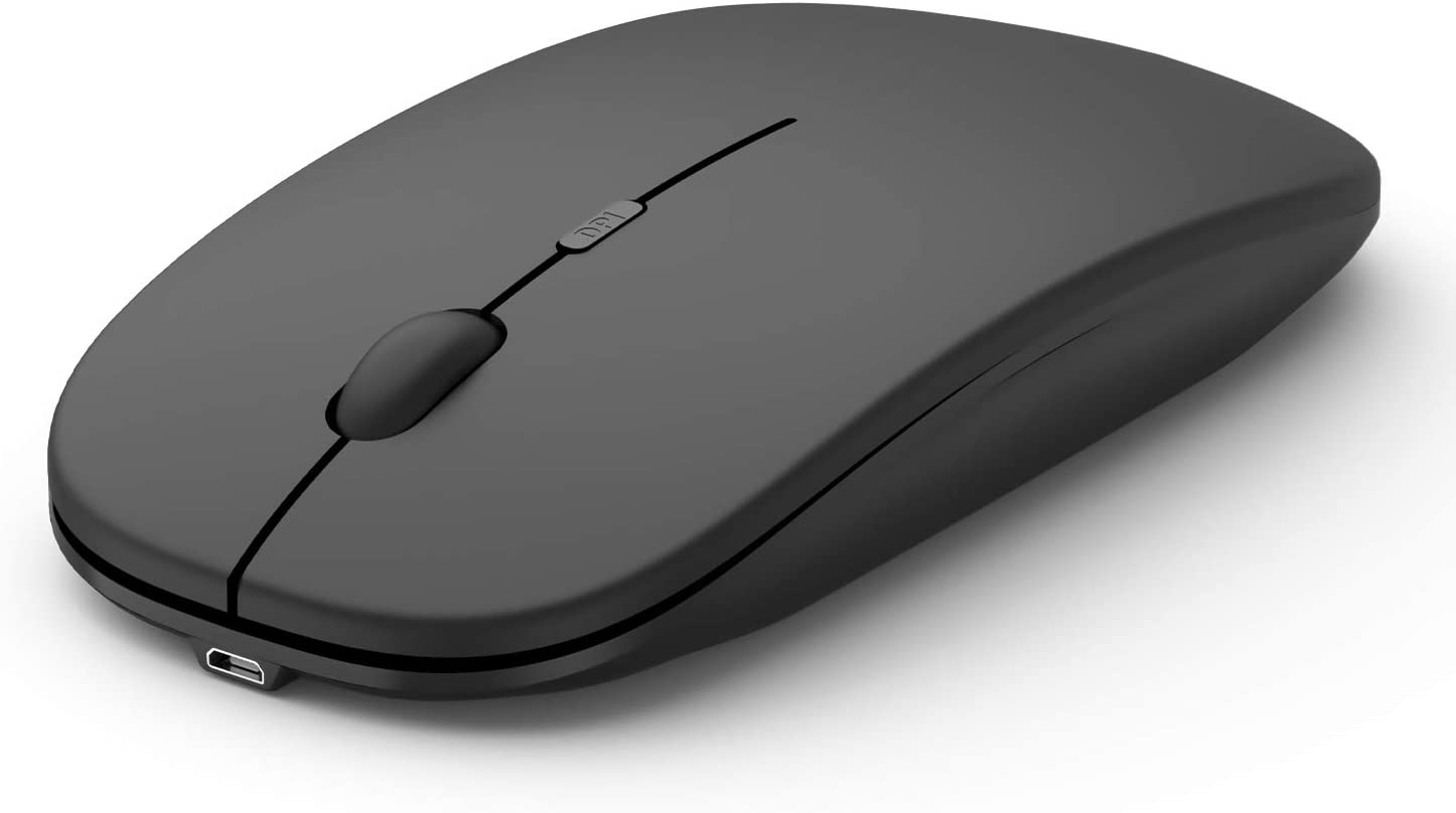 Wireless Silent Rechargeable Mouse for Laptop Computer PC: 2.4G Slim Mini Quiet Cordless Mouse with USB Receiver, 1600 DPI Small Portable Noiseless Optical Mice for Notebook MacBook Mac-Black