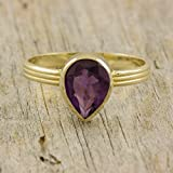 Amethyst ring gift gold purple gemstone large pear cut natural real genuine gem stone triple band 14K solid gold tear drop cocktail anniversary gift for women February birthstone