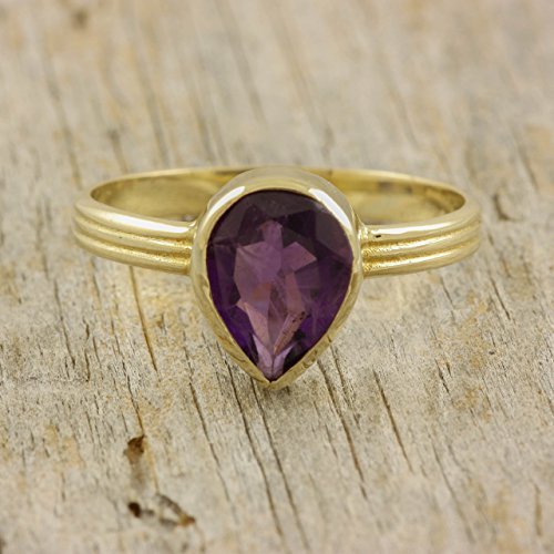 Amethyst ring gift gold purple gemstone large pear cut natural real genuine gem stone triple band 14K solid gold tear drop cocktail anniversary gift for women February birthstone by Kyklos Jewelry Lab