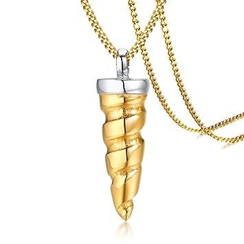 H.L Collar para Hombre, Acero Inoxidable, Oro, Unicornio ...