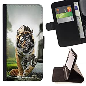 BETTY - FOR Samsung Galaxy Core Prime - Steam punk Tiger Robot - Style PU Leather Case Wallet Flip Stand Flap Closure Cover