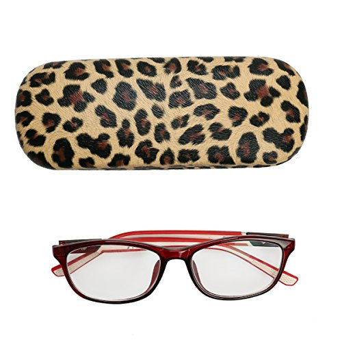 Hard Clamshell Shell PU Leather Leopard Print Metal Eyeglasses Case Holder For Small or Medium Glasses Frames, Girls Womens Great Choice (Leopard)