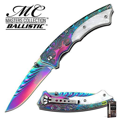 Hibben Chrome Knife - SPRING-ASSIST FOLDING POCKET KNIFE Rainbow Chrome Carbon Sharp Blade Pearl Vine Tactical EDC Knife + Free eBook by SURVIVAL STEEL