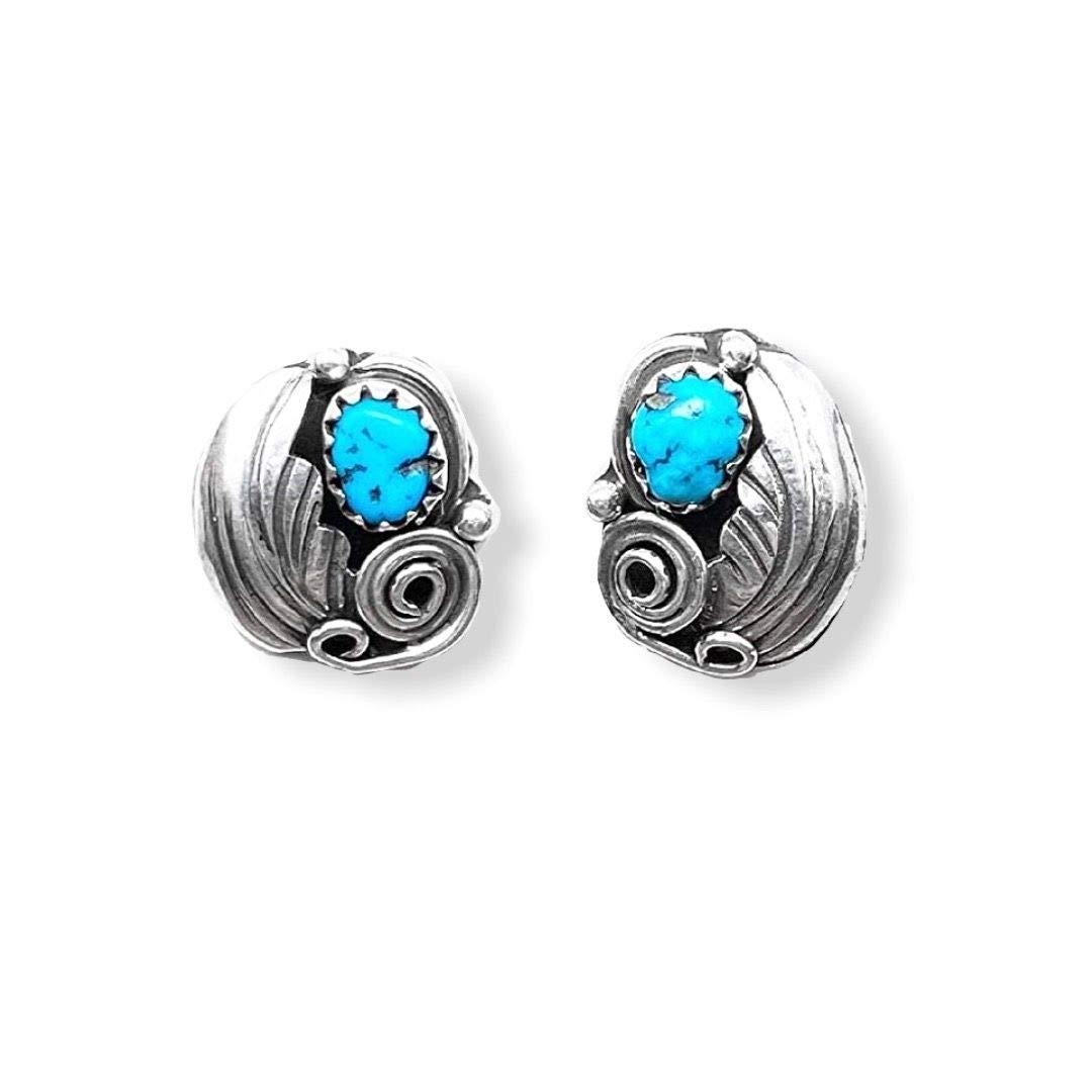 Handmade 925 sterling silver turquoise earrings