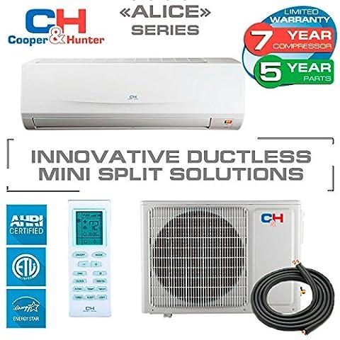 Alice 9 208-230v/60hz, Ductless Mini Split System 16 Seer, 9k Btu Indoor+outdoor with 15' Copper Line Set (White)