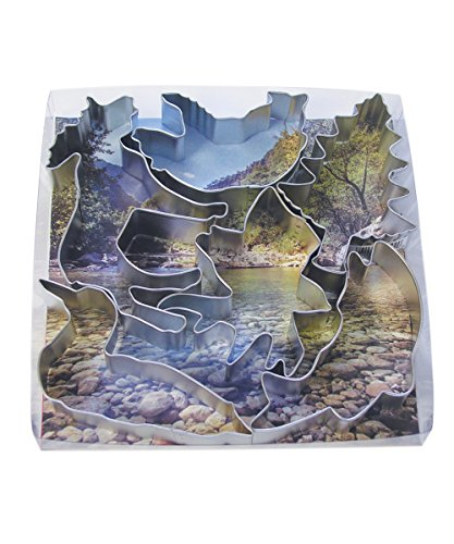R&M International 1893 Northwoods Nature Cookie Cutters, Deer, Salmon, Loon, Bear, Tree, Moose, 6-Piece Set -