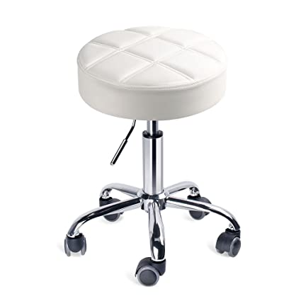 Amazon Com Leopard Round Rolling Stools Adjustable Work Medical Stool With Wheels Small White Beauty