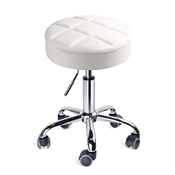 Amazon Com Leopard Round Rolling Stools Adjustable Work Medical Stool With Wheels Small White Kitchen Dining
