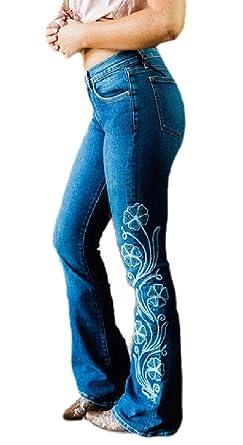 dahuo - Pantalones Vaqueros Bordados de Media Altura para ...