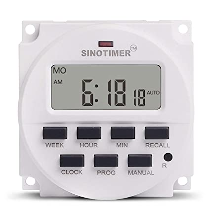 SINOTIMER TM618N-4 12V LCD Digital AC Programable Temporizador Interruptor con relé listado UL dentro
