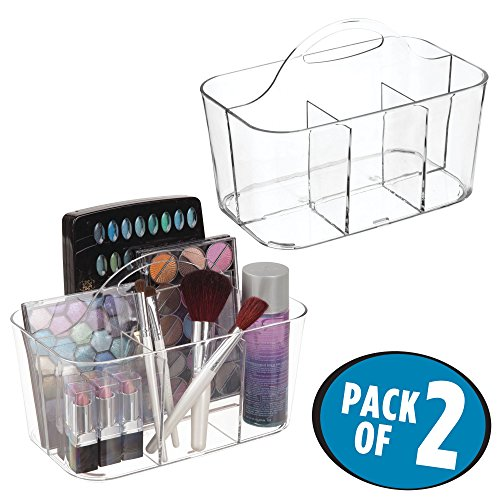 (mDesign Bathroom Cabinet, Under Sink Storage Caddy, Divided Bin - BPA Free - 4 Section Tote with Built-In Handle for Organizing Soap, Shampoo, Conditioner, Cosmetics, Makeup - Pack of 2, Clear)