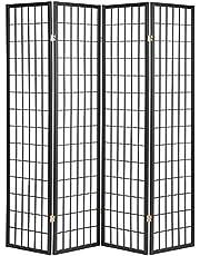 ORE International R530-4 4-Panel Room Divider, Black