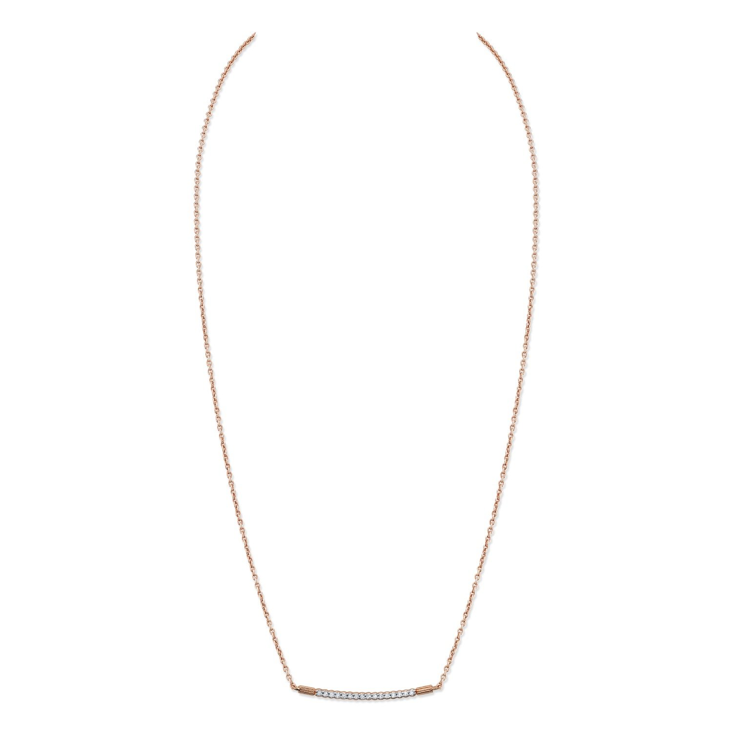 CHARLIZE GADBOIS Sterling Silver Diamond Pendant Necklace, Rose Gold Plated (0.08 cttw,I2-I3 Clarity)