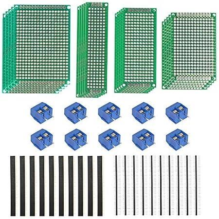 LAITER PCB Board Prototipo doble cara Tiras de placa pruebas Millefori Placa de circuito impreso Arduino Millefori Perforado doble cara Junta universal Soldadura Proyecto electrónico 4 Tamaño