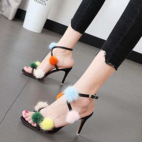 Xue Qiqi Frauen Schuhe Tau - toe die Zeile dem mit dem Zeile high-heel Schuhe geschlitzten Lasche Sandalen Weiblich Schwarz 69dae1