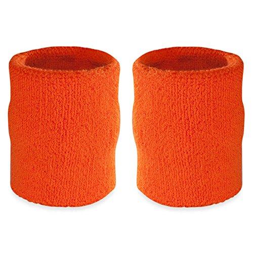Suddora 4' Inch Sport Arm Sweatbands - Athletic Cotton Armbands Pair (Orange)