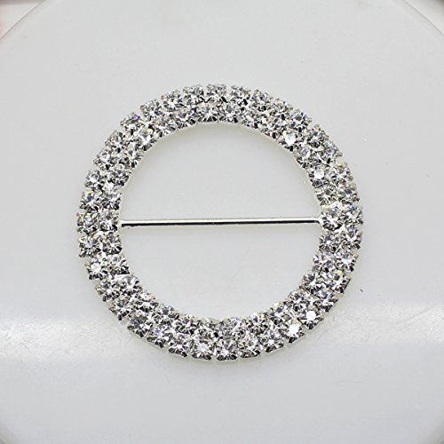 7pcs 50mm x 50mm Round Shaped Rhinestone Ribbon Buckle Slider for Wedding Invitation Letter - Round Ribbon
