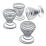 Global Decor 1600 4 Piece Spiral Egg Cup Set (Chrome-Plated)