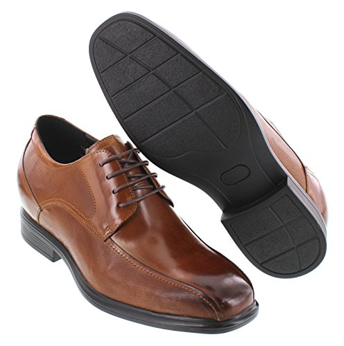 CALTO Y3101-3 inches Taller - height Increasing Elevator Shoes - Brown Leather Lace-up Dress Shoes QAnagCsFv