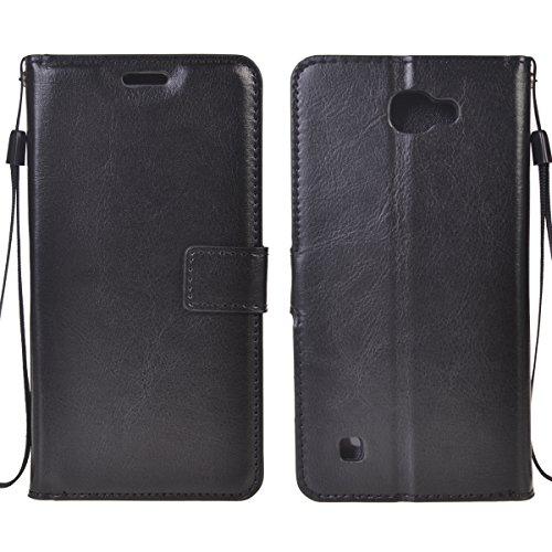 LG X5 Funda,COOLKE Retro PU Leather Wallet With Card Pouch Stand de protección Funda Carcasa Cuero Tapa Case Cover para LG X5 - Rosa Negro