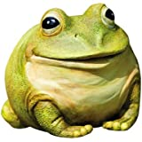 "Evergreen Garden Medium Portly Frog Painted Polystone Outdoor Statue and Key Holder - 6""W x 5""D x 6""H"