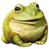 """Evergreen Garden Medium Portly Frog Painted Polystone Outdoor Statue and Key Holder - 6""""W x 5""""D x 6""""H"""