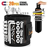 Magnetic Wristband, [Upgraded] Tool Belts with 20 Strong Magnets and 2 Pockets for Holding Screws, Nails, Drill Bits…