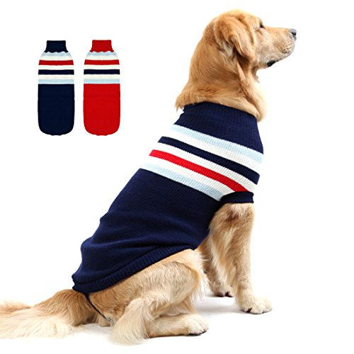 GabeFish Fashion Small Medium Large Dog Striped Warm Knitted Sweater for Cold Weather Spring Winter Clothes Jumper Navy 3X-Large
